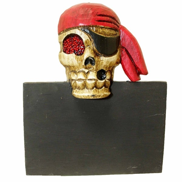 "Handmade Pirate Skull Message Board with Beaded Eye - 12"" x 9"" (Indonesia)"