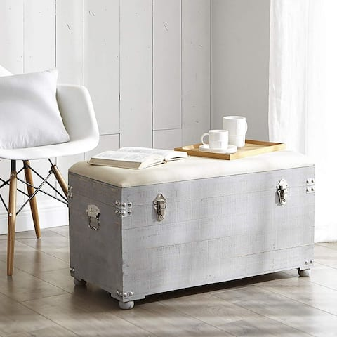The Gray Barn Golden Dandelion Light-grey Seater Trunk with Natural-tone Cushion