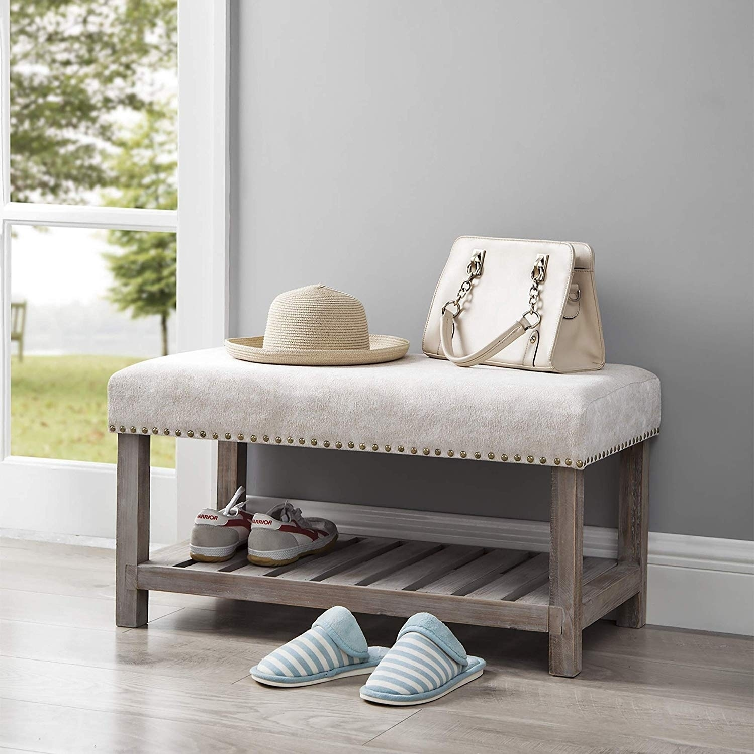 Central Style Cushion Bench Farmhouse Wood With Marble Natural Cushion Compact Overstock 27649473