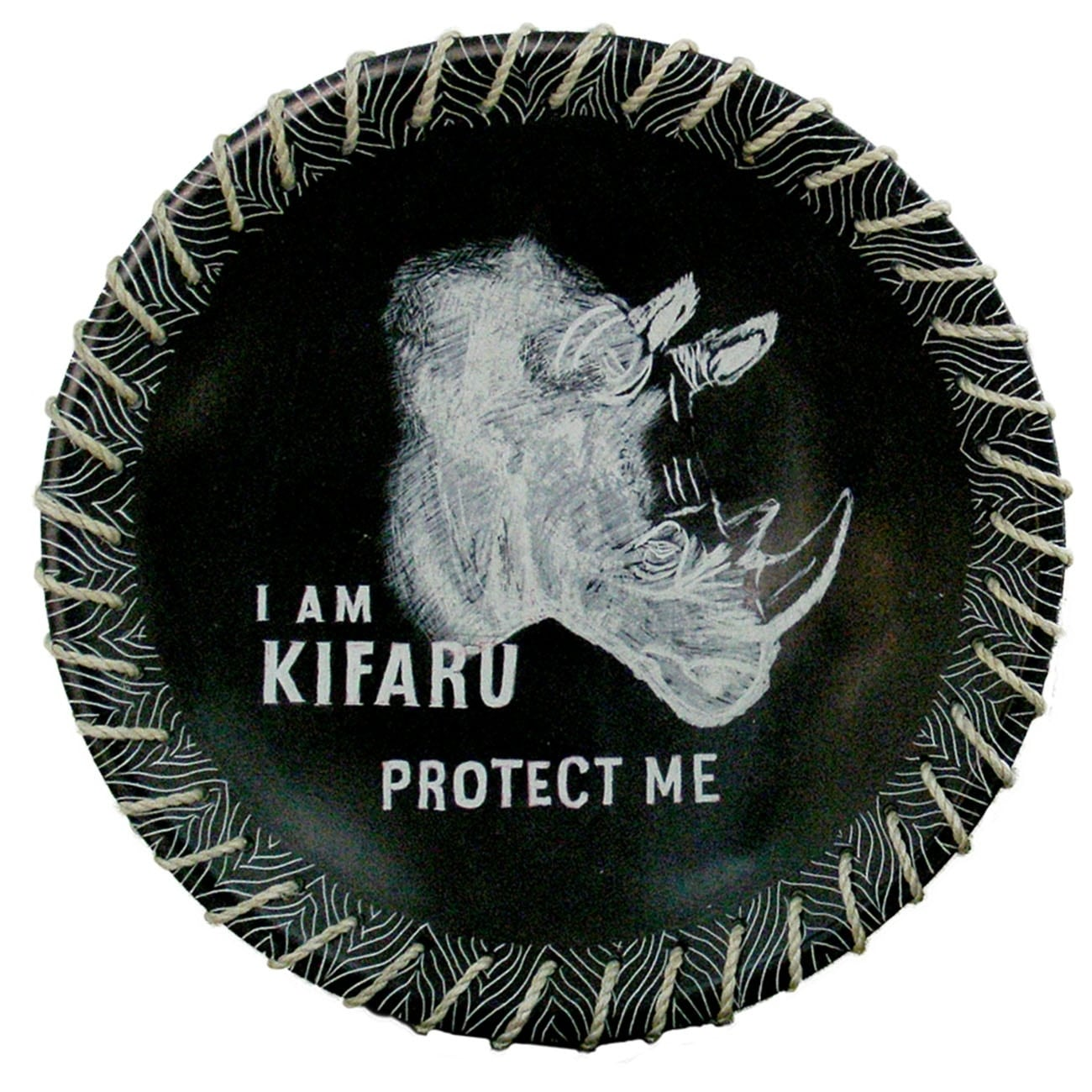 Protect Me Kisii Soapstone Decorative Rhino Plate with Native Sisal Rope, 8