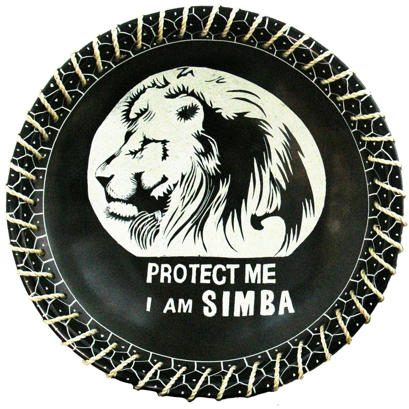 Protect Me Kisii Soapstone Decorative Lion Plate with Native Sisal Rope - 8