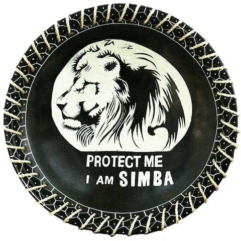 "Handmade 8"" Protect Me Kisii Soapstone Lion Plate with Sisal Rope (Kenya)"