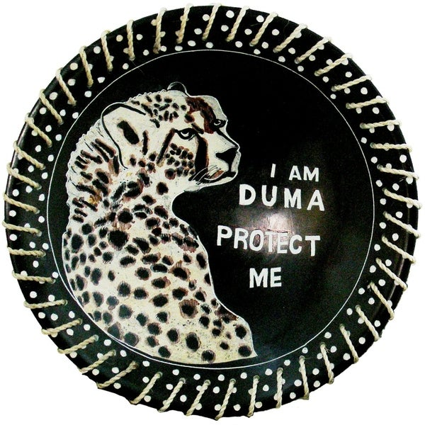 """""""Protect Me"""" Kisii Soapstone Decorative Cheetah Plate with Native Sisal Rope, 8"""". Opens flyout."""