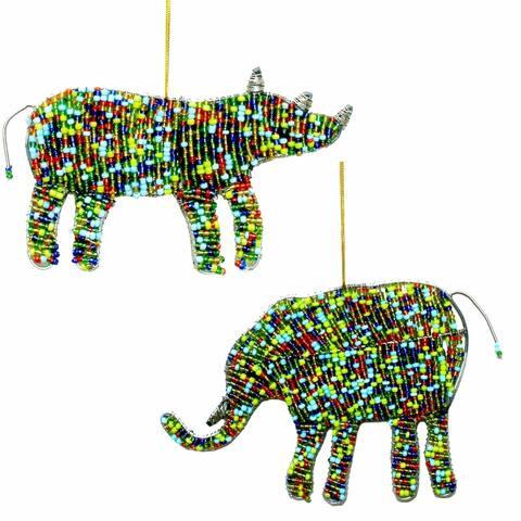 Handmade Elephant and Rhino Ornament Set (Kenya)