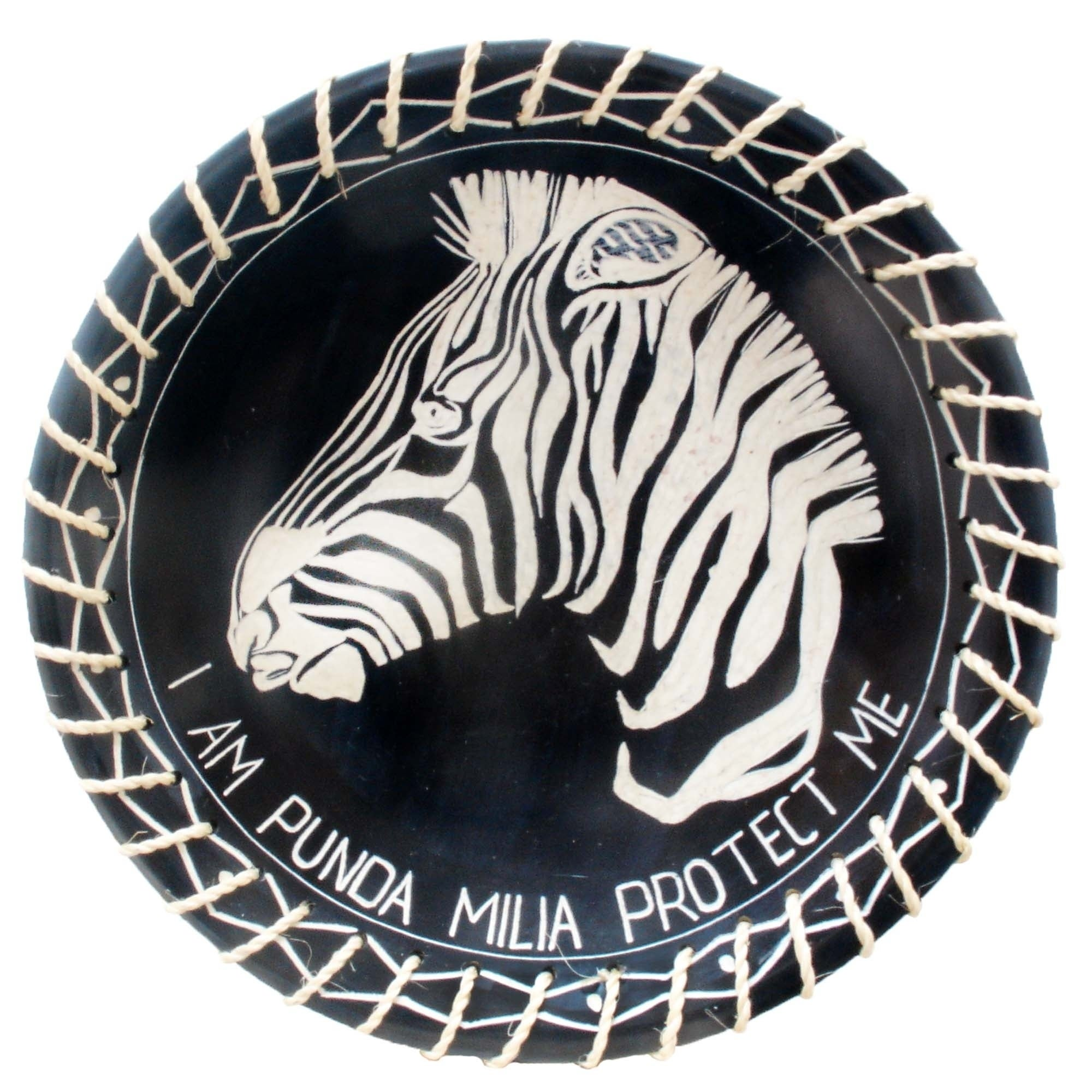 Handmade 8 Protect Me Kisii Soapstone Zebra Plate With Sisal Rope Kenya Overstock 27649484