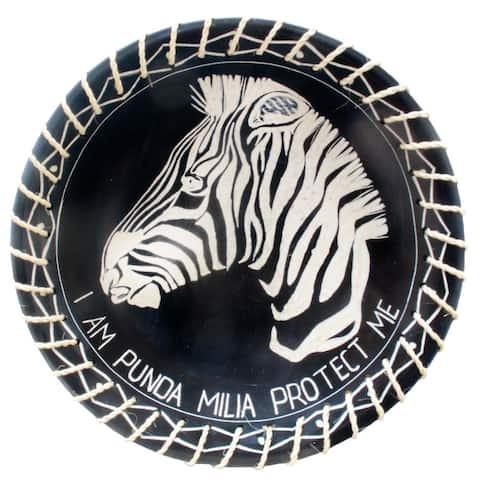 "Handmade 8"" Protect Me Kisii Soapstone Zebra Plate with Sisal Rope (Kenya)"