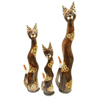 Handmade Tenang Pagi Cat Statue, Set of 3 (Indonesia)