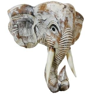 Handmade Wood Elephant Head Wall Dcor (Indonesia)