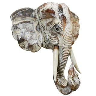 Wooden Elephant Head Wall Décor (Off-White - 20)