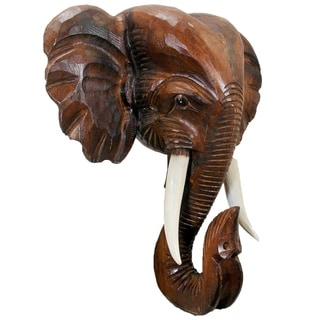Wooden Elephant Head Wall Décor (Brown - 20)