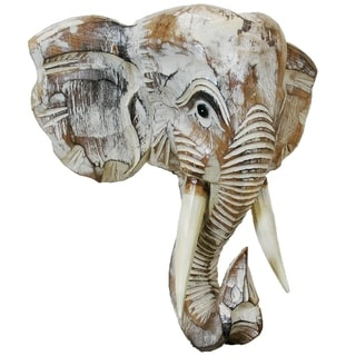 Wooden Elephant Head Wall Décor (Off-White - 12)
