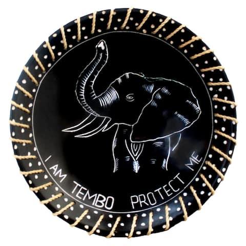 "Handmade 8"" Protect Me Kisii Soapstone Elephant Plate with Sisal Rope (Kenya)"