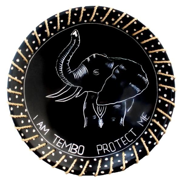 "Handmade 8"" Protect Me Kisii Soapstone Elephant Plate with Sisal Rope (Kenya). Opens flyout."