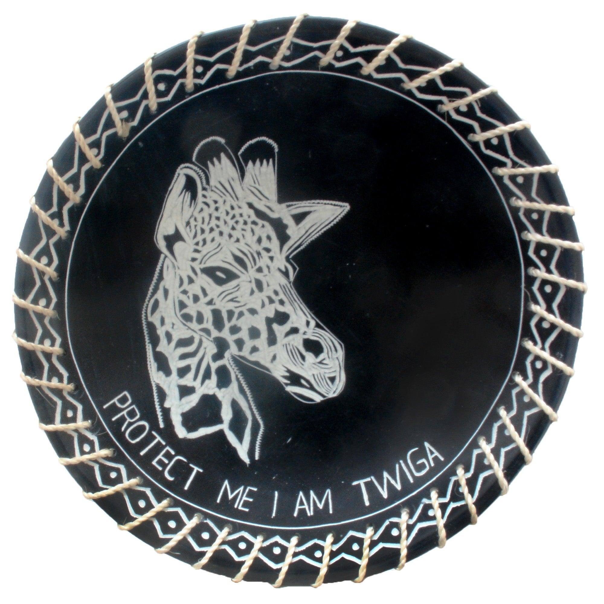 Protect Me Kisii Soapstone Decorative Giraffe Plate with Native Sisal Rope, 8