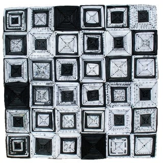 Recycled Paper Abstract Artwork- Square Design (12x12)