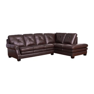 Abbyson Elijah Top Grain Leather Sectional