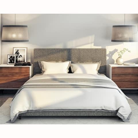 Mid Century Modern Grey Upholstered Queen Bed