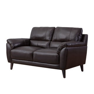Strick & Bolton Granville Top-grain Leather Loveseat