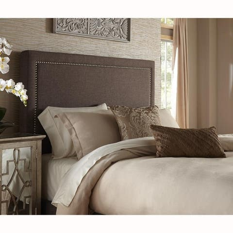Brown Upholstered King Headboard With Nailhead Trim