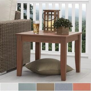 Havenside Home Moosonee Brown Wood Patio Ottoman Side Table