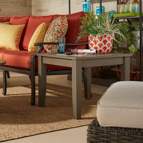 Havenside Home Moosonee Grey Wood Patio Ottoman Side Table