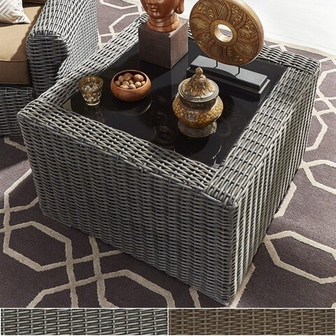 Barbados II Wicker Glass Top Accent Side Table iNSPIRE Q Oasis