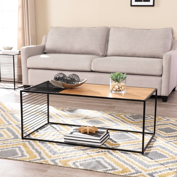 Strick & Bolton Kelsey Contemporary Black/Natural Wood and Iron Cocktail Table
