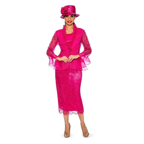 Giovanna Signature Women's 3-pc Lace Suit w/ Organza Trims