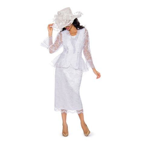Giovanna Signature Women's 3-pc Lace Suit w/ Organza Trims