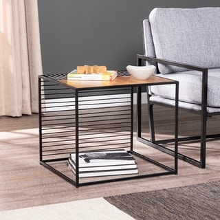 Strick & Bolton Kelsey Metal Natural Wood End Table