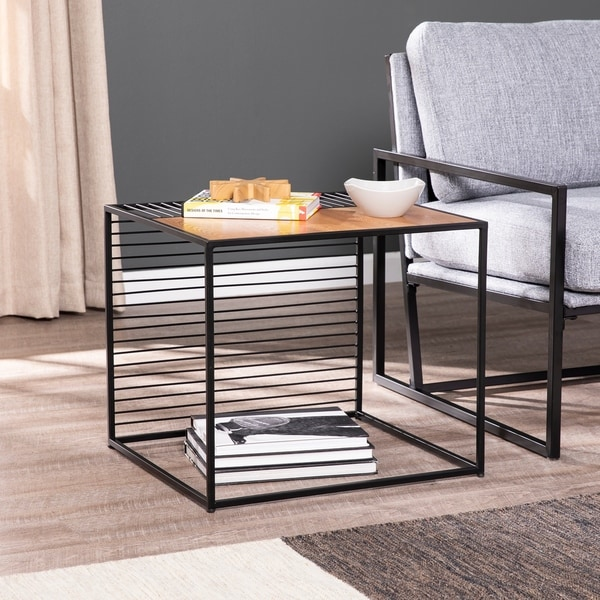 Strick & Bolton Kelsey Contemporary Black/ Natural End Table