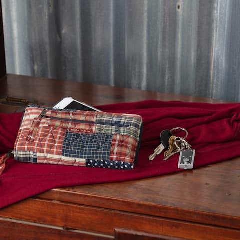 Red Americana Handbags VHC Revere Wrist Strap Wallet Wallet Cotton Patchwork Pewter Hardware - 4.75x8x0.75