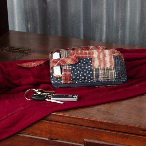 Red Americana Handbags VHC Revere Modern Wristlet Wallet Wallet Cotton Patchwork Pewter Hardware - 7x3.5x1
