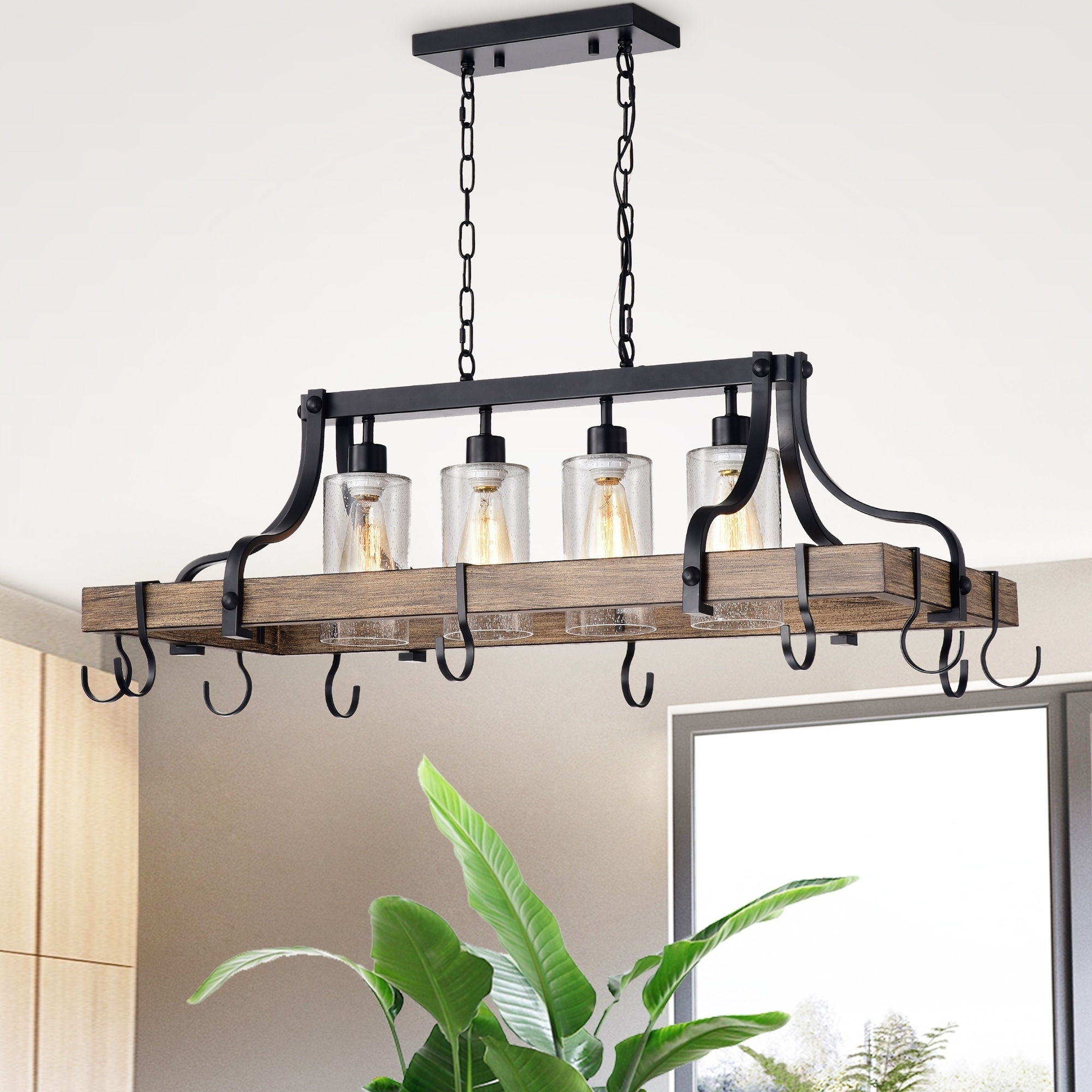 Blakes 4 Light Faux Wood Metal Kitchen Island Chandelier With Pot Pan Hooks And Seeded Gl Shades