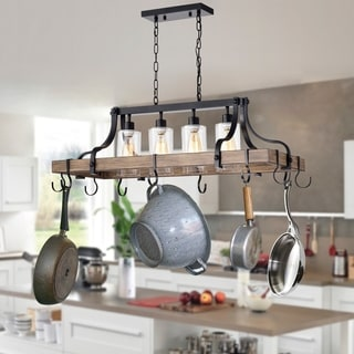 Blakes 4-light Faux-Wood Metal Kitchen Island Chandelier with Pot/Pan Hooks  and Seeded Glass Shades (includes Edison Bulbs) | Overstock.com Shopping -  ...