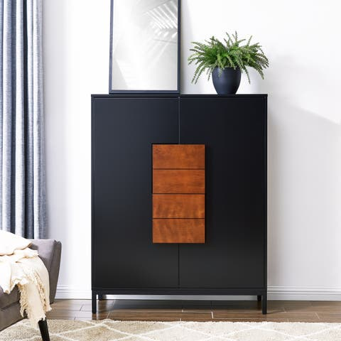 Holly & Martin Hernz Double-Door Colorblocked Accent Storage Cabinet