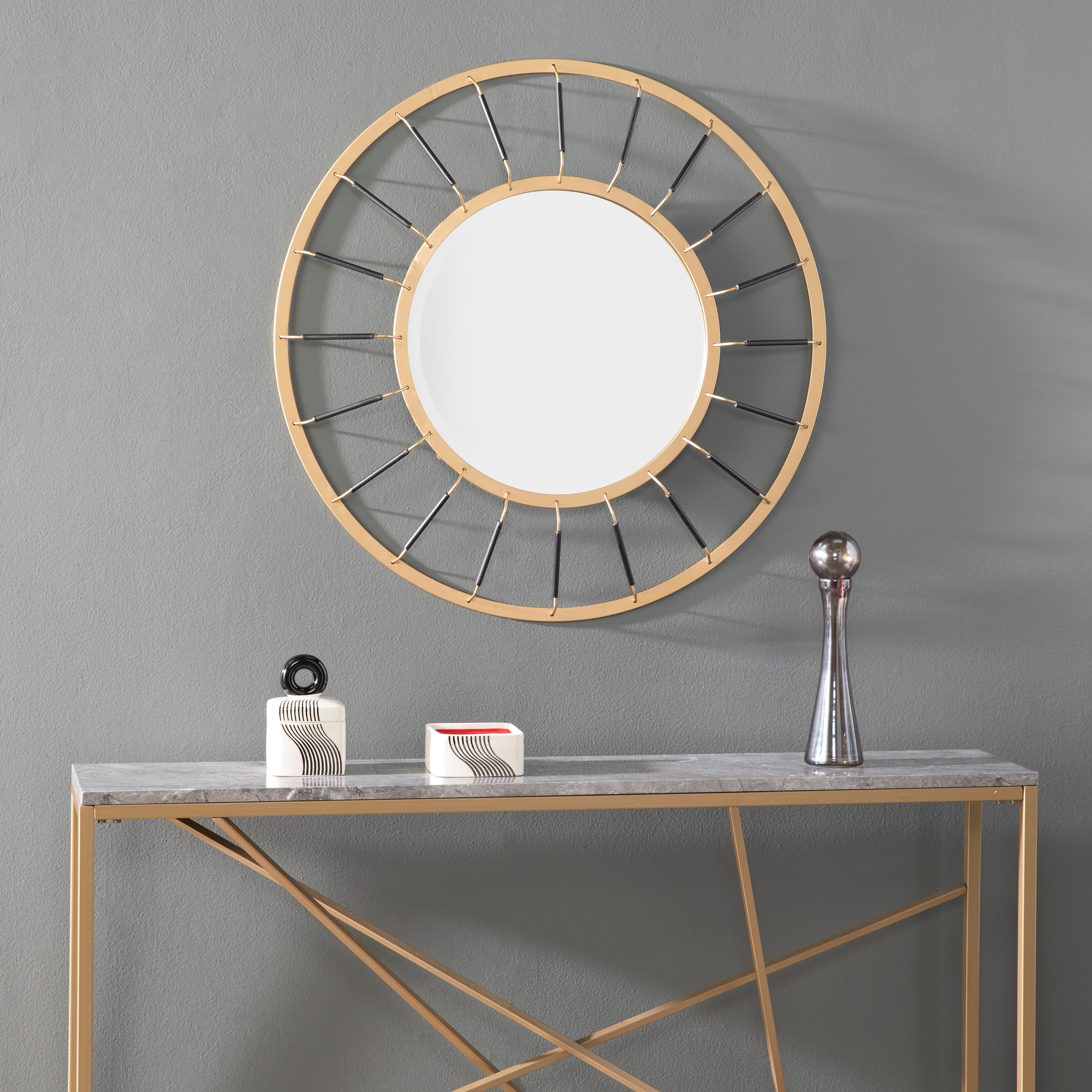 Silver Orchid Bech Glam Goldtone/Black Metal Mirror