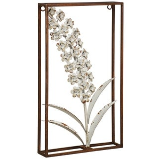 Box Framed Weathered White Metal Hyacinth Wall Sculpture