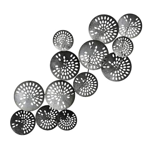 StyleCraft Varied Metal Discs with Oval Pattern Metal Wall Sculpture