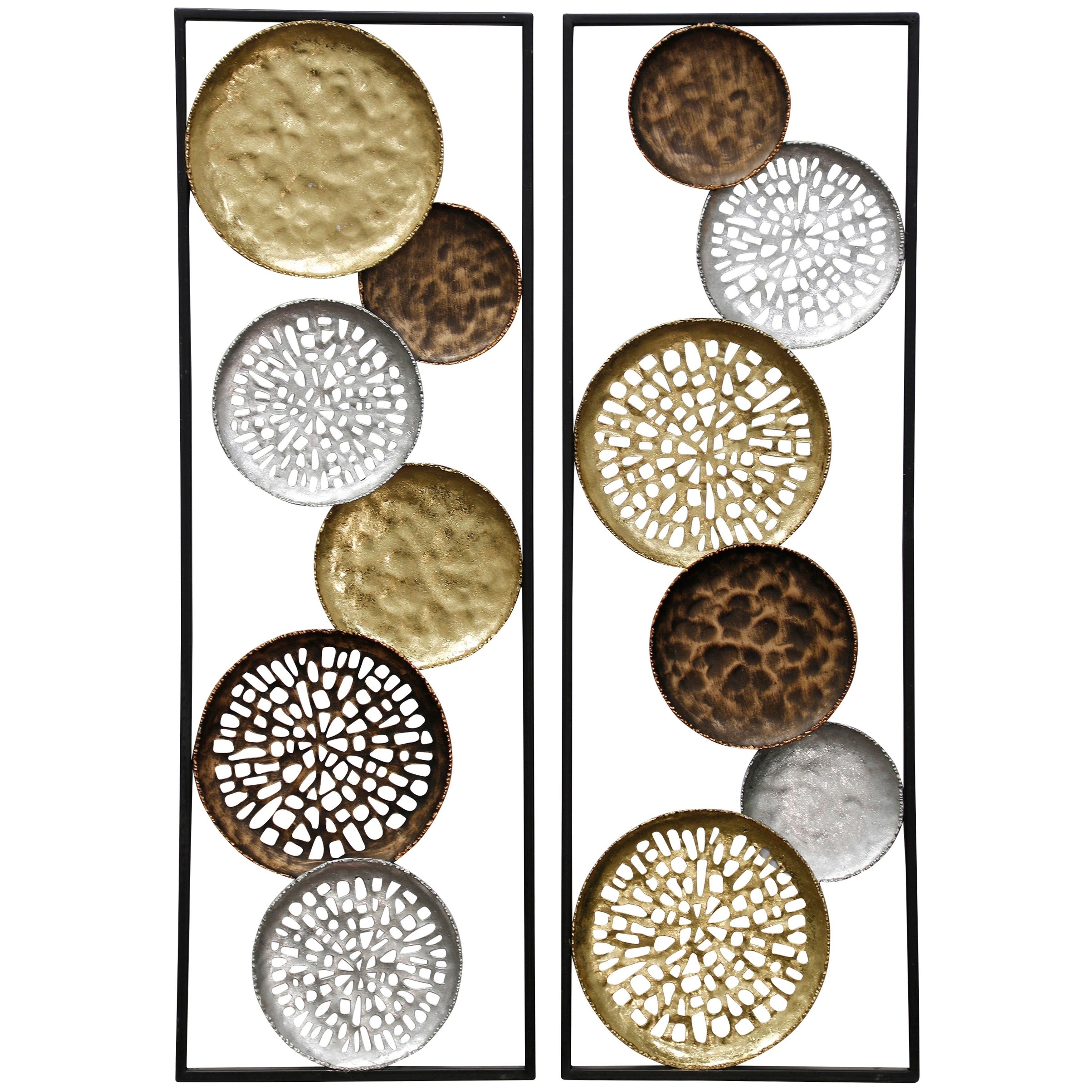 Collection Of Hammered Or Open Cut Out Plates On Metal Framed Panels Wall Sculpture Set Of 2 Overstock 27654785