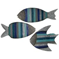 Collection of Striped Fish Metal Wall Sculpture (Set of 3)