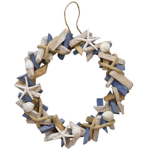Porch & Den Hand-assembled Ocean Motif Wood Wreath with Hanging Loop