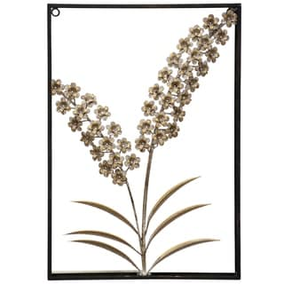 The Gray Barn Box Framed White Wash Brass Metal Hyacinth Wall Sculpture