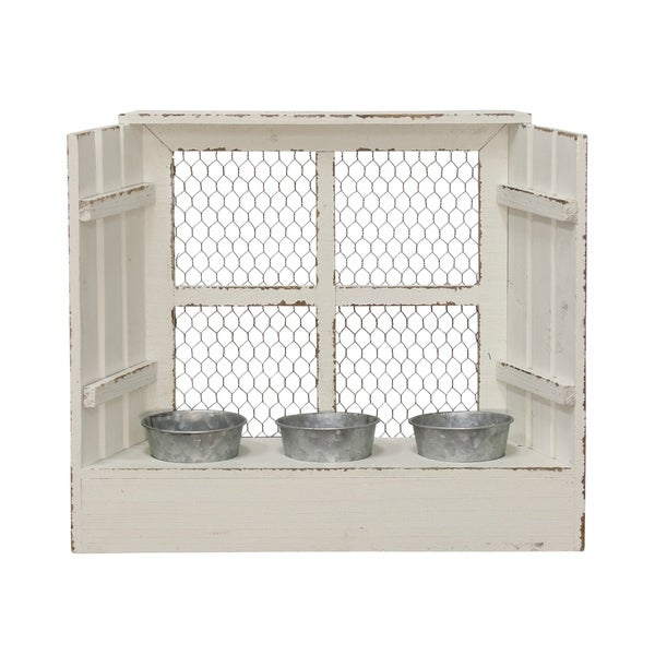 The Gray Barn Wood Framed Avian Wire Planter Wall Hanging with Three Pots