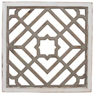Weathered White Square Pattern Wood Wall Art