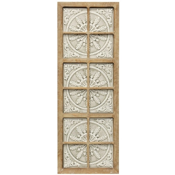 The Gray Barn Wood Framed Medallion Pattern Embossed Tile Wall Panel