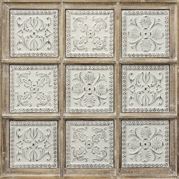The Gray Barn Wood Framed Raised Floral Design Metal Tiles Wall Hanging
