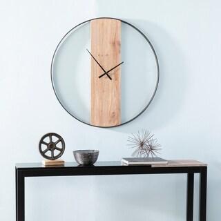 The Gray Barn Kendrick Modern Farmhouse Black/Natural Metal 34.25-inch Wall Clock