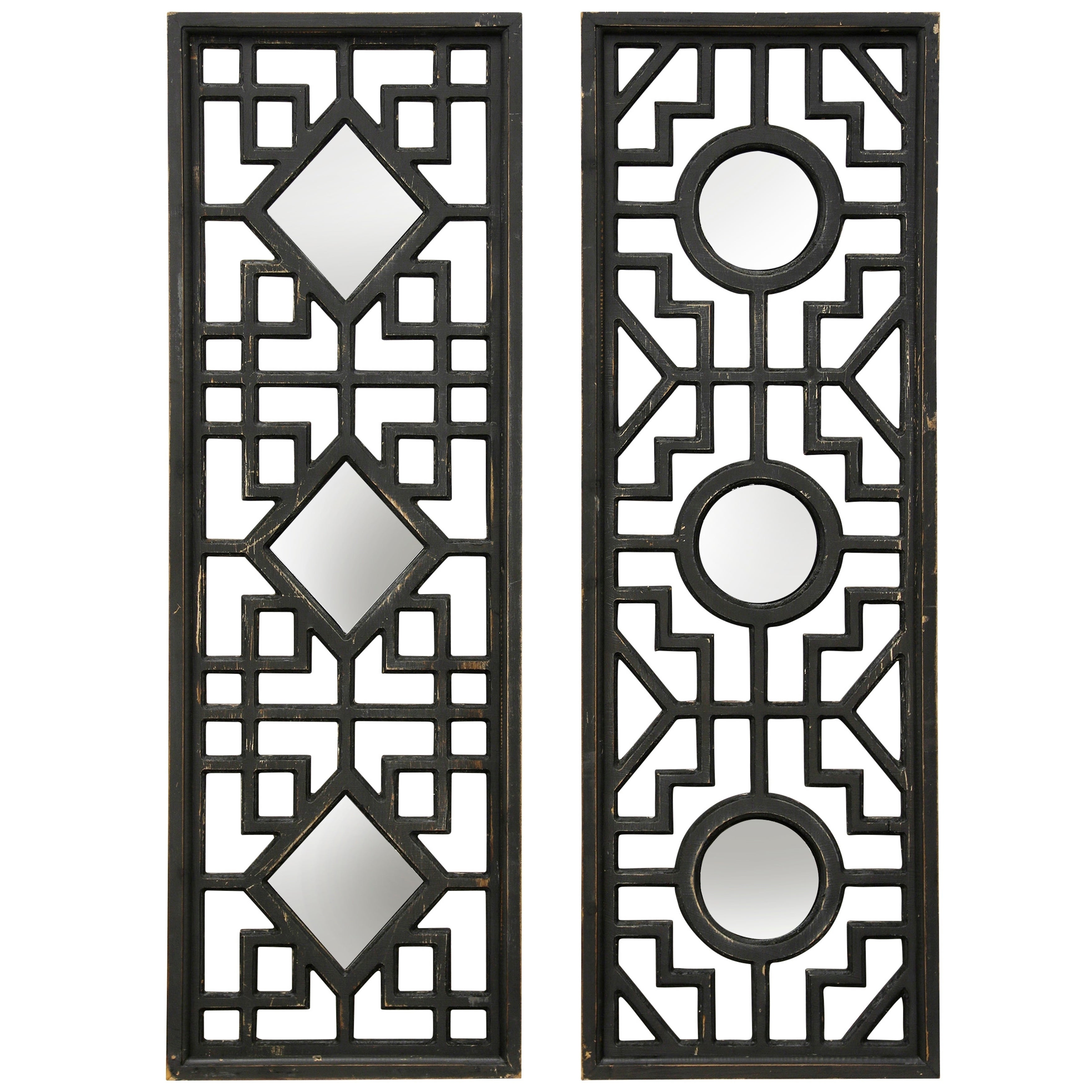 Collection of Diamond and Circular Wall Mirrors Framed in Geometric Fretwork (Set of 2)