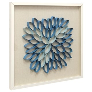 Porch & Den 'Blue Lotus Multiple Floral Paper Sculpture with Linen Backed Shadow Box